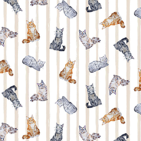 PAWS UP! - CRAFTY CATS - CX9243-LINEN