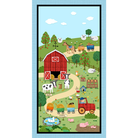 DOWN ON THE FARM - FARMYARD PANEL CX9371-BLUE