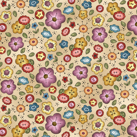 BORN TO SEW - BACKGROUND BOUQUET DC9429-BEIGE