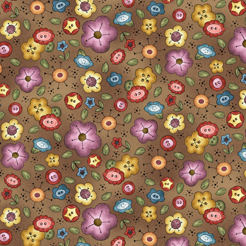 BORN TO SEW - BACKGROUND BOUQUET DC9429-BROWN