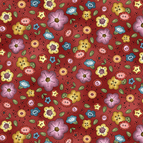BORN TO SEW - BACKGROUND BOUQUET DC9429-RED