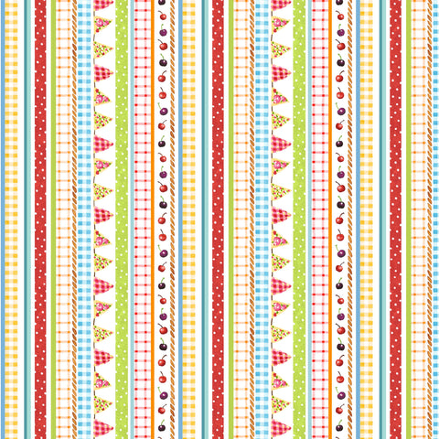 PICNIC BY THE LAKE -GINGHAM STRIPE DC9837-WHITE