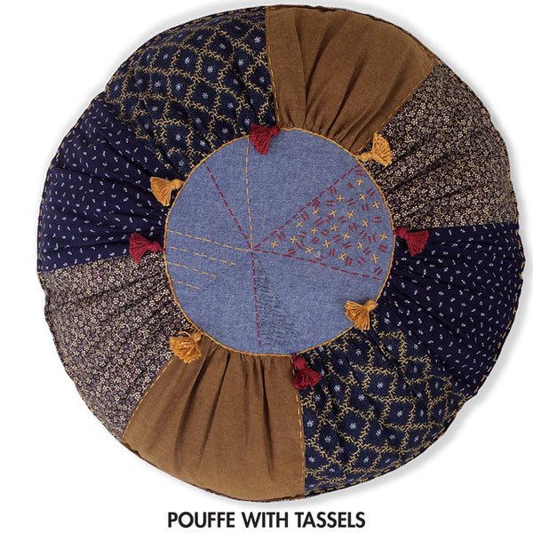 Free Project Pouffe with Tassels - A vote of her Own Fabric