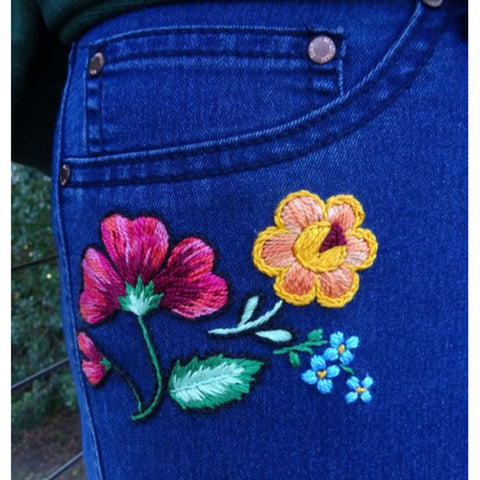 Free Project - Floral Jeans - DMC Perle & Stranded Cotton