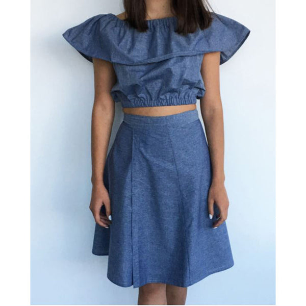 Free Project - Ruffle Crop Top and Wrap Around  Skirt, Cotton Chambray
