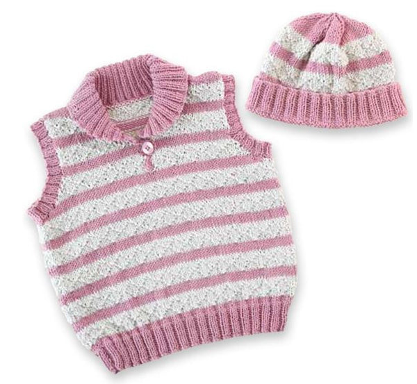 Free Project - Striped Baby Vest & Beanie