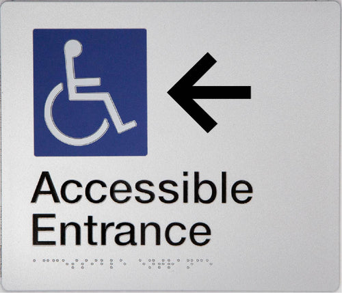Accessible Entrance Sign silver left arrow blue wheelchair icon