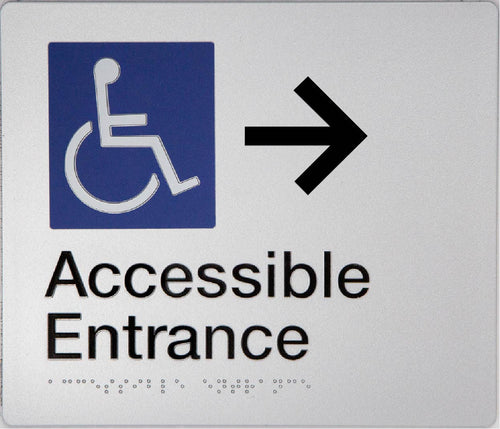 Accessible Entrance Sign silver right arrow blue wheelchair icon