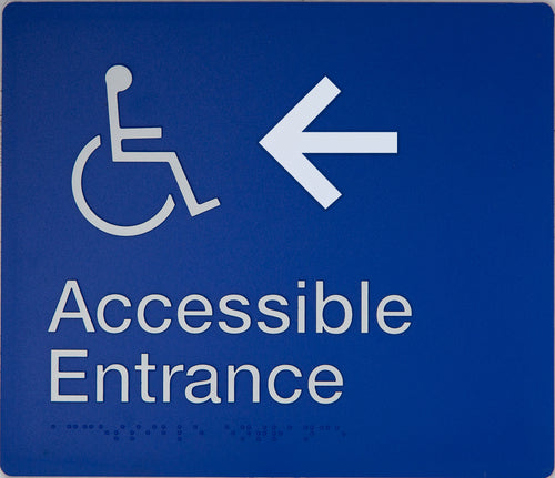 Accessible Entrance Sign left arrow blue wheelchair icon