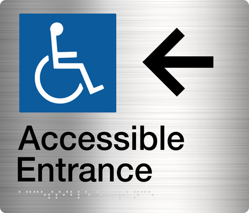 Accessible Entrance Sign (Left Arrow)  Stainless Steel