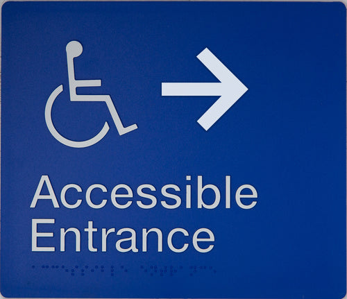 Accessible Entrance Sign right arrow blue wheelchair icon