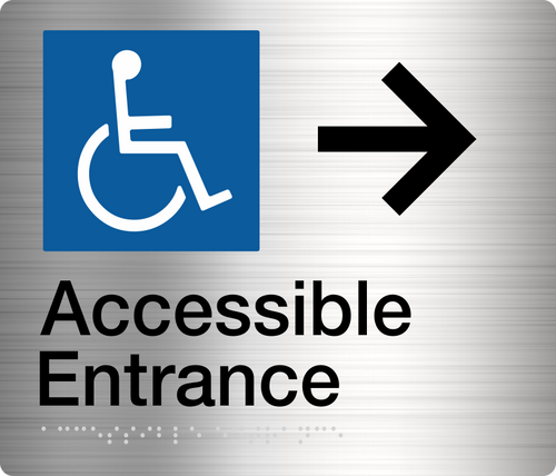Accessible Entrance Sign (Right Arrow)  Stainless Steel