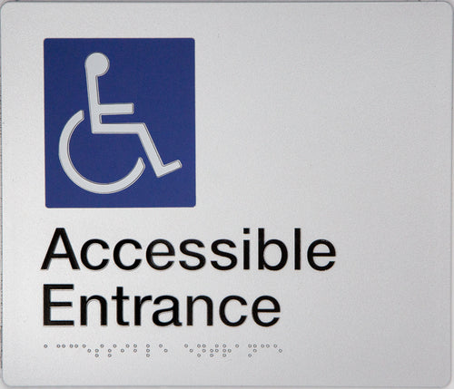 Accessible Entrance Sign silver wheelchair icon