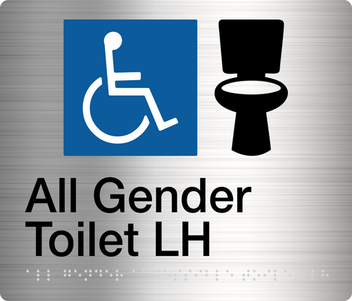ALL GENDER TOILET (Left Handed)  Stainless Steel