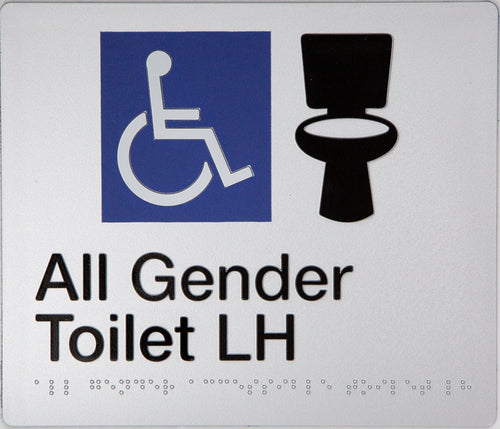 All Gender Toilet Left Hand Sign Black on Silver