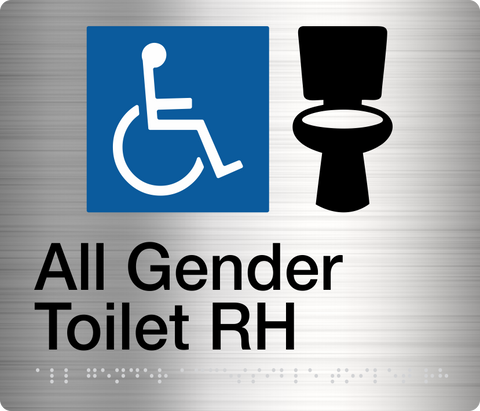 All Gender Toilet Sign White on Blue