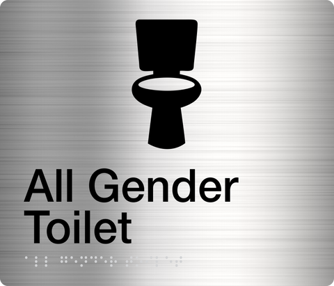 All Gender Toilet Right Hand Sign White on Blue