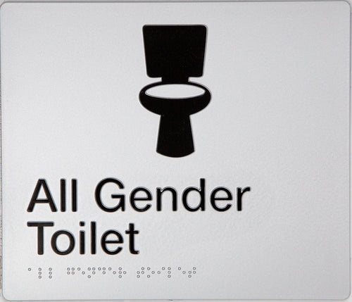 All Gender Toilet Sign Black on Silver