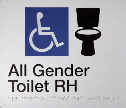 All Gender Toilet Right Hand Sign Black on Silver