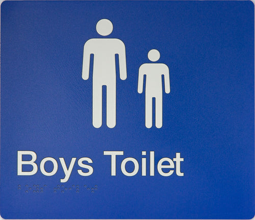 Boys Toilet Sign white on blue