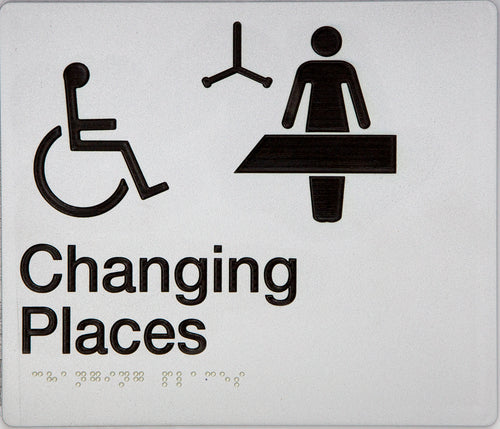 Baby Changing Sign black on silver