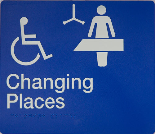 Baby Changing Sign white on blue