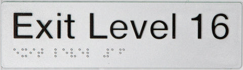 Braille Exit Sign Basement 3 black on silver