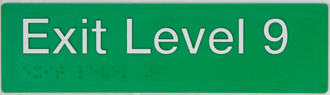 Braille Exit Sign Lower Ground Level white on green
