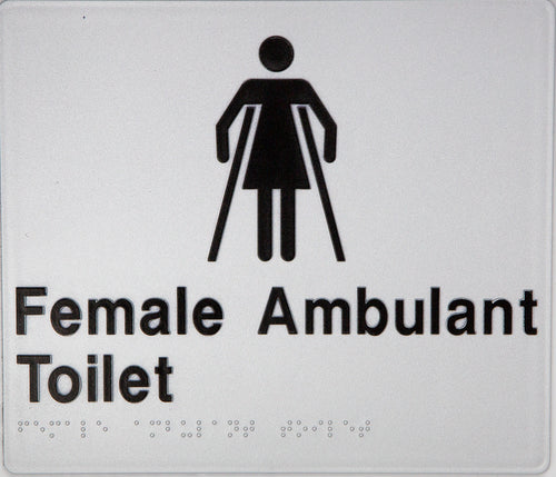 Female Ambulant Toilet Sign black on silver 1 icon