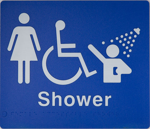 Female Toilet sign Accessible white on blue 2 icons