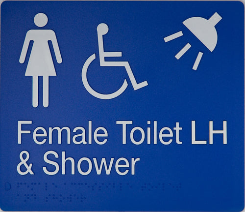 Female Toilet LH & Shower Sign blue Accessible 3 icons