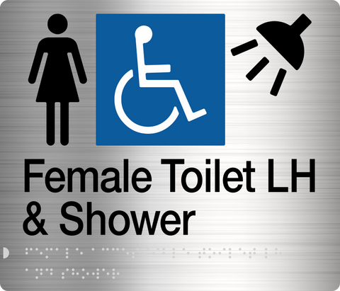 Male Toilet LH & Shower Sign blue Accessible 3 icons