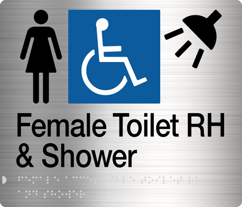 Female Disabled Toilet & Shower (Right Handed) Stainless Steel