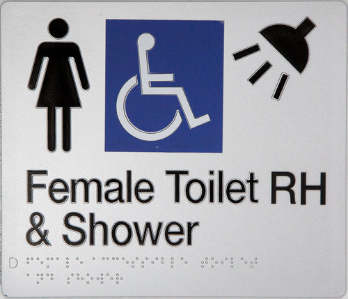 Female Toilet RH & Shower Sign silver Accessible 3 icons