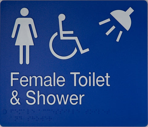 Unisex Toilet Sign Accessible LH white on blue 3 icons