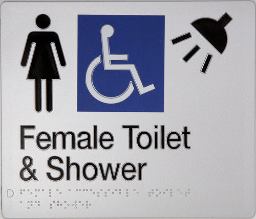 Female Toilet & Shower Sign silver Accessible 3 icons