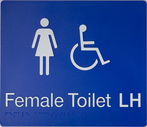 Female Toilet LH sign white on blue 2 icons