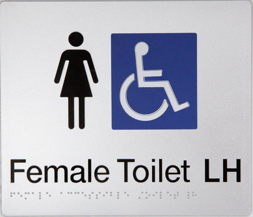 Female Toilet LH sign black on silver 2 icons