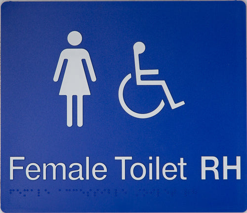 Female Toilet RH sign white on blue 2 icons