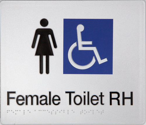 Female Toilet RH sign black on silver 2 icons