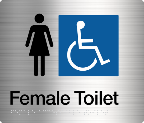 Female Toilet LH & Shower Sign silver Accessible 3 icons