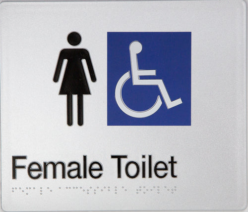 Female Toilet sign Accessible black on silver 2 icons