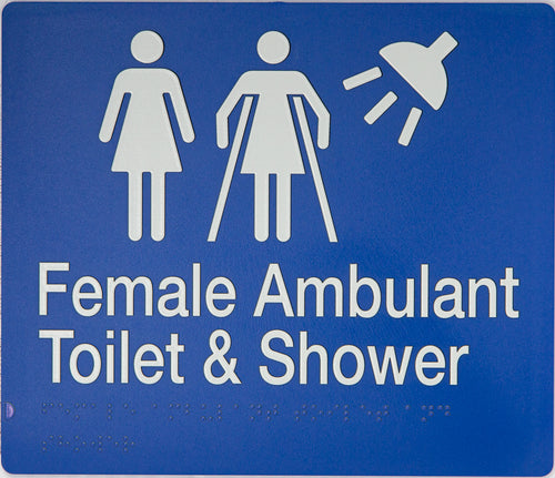 FEMALE / FEMALE AMBULANT TOILET & SHOWER SIGN WHITE ON BLUE