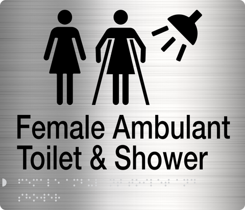 Unisex Toilet LH & Shower Sign Accessible silver 4 icons