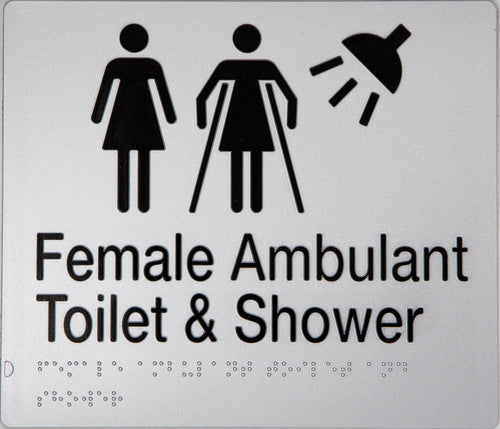 FEMALE / FEMALE AMBULANT TOILET & SHOWER SIGN BLACK ON SILVER