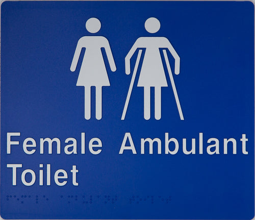 Female Ambulant Toilet Sign white on blue 2 icons