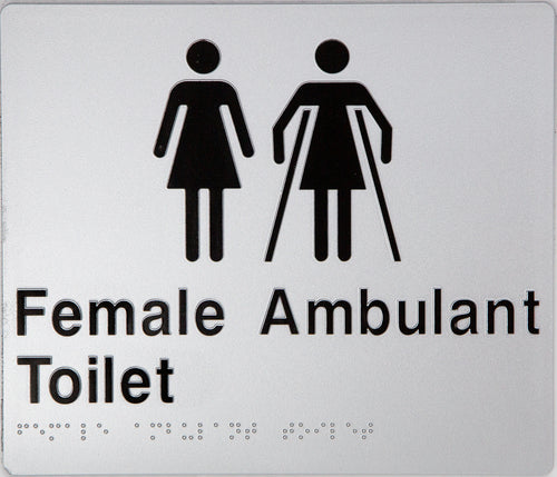 Female Ambulant Toilet Sign black on silver 2 icons