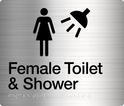 Female Toilet Sign white on blue