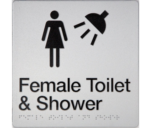 Female Toilet & Shower Sign silver 2 icons