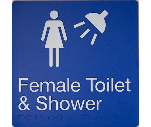 Female Toilet & Shower Sign blue 2 icons